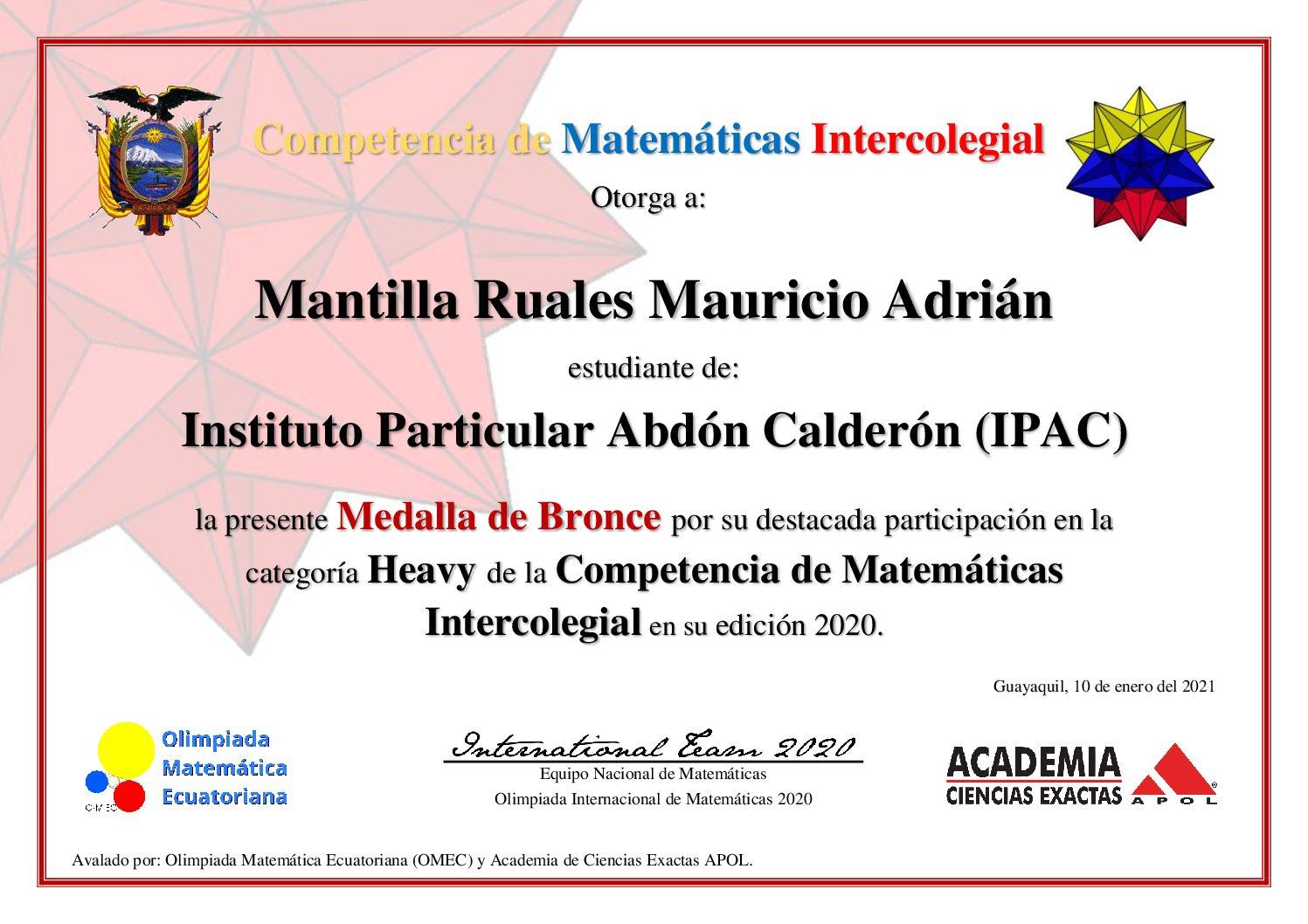 COMPETENCIA DE MATEMÁTICAS INTERCOLEGIAL 1° EDICIÓN